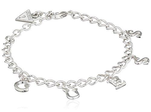 Guess bracciale da donna iconic fascino con ciondolo in acciaio inossidabile cristallo bianco 19cm-ubb61080di s