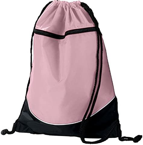 Light Pink/Black/White Sports Lightweight Drawstring Backpack with Zippered Pocket by Authentic Sports