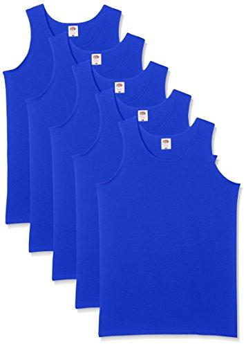 Fruit of the Loom Herren 5-Pack Athletic Mens Unterhemd, Blau (Königsblau), Large (erPack 5 Blau Ärmellos