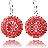 Orecchini Rotondi Grandi color Corallo Rosa Mandala per le Vacanze Realizzati da Dragon Porter