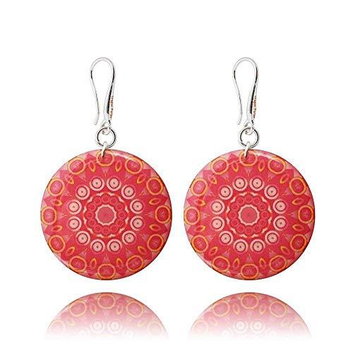 Runde Mandala-Ohrringe in der Farbe Rosa Koralle für den Valentinstag