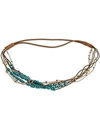 Justfox – Cinta para el pelo, con perlas de colores y cadena dorada, diferentes colores