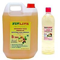 FITLITE Combo Pure Groundnut Wood Chekku Oil 5 LTR + Coconut Wood Chekku Oil 1 LTR