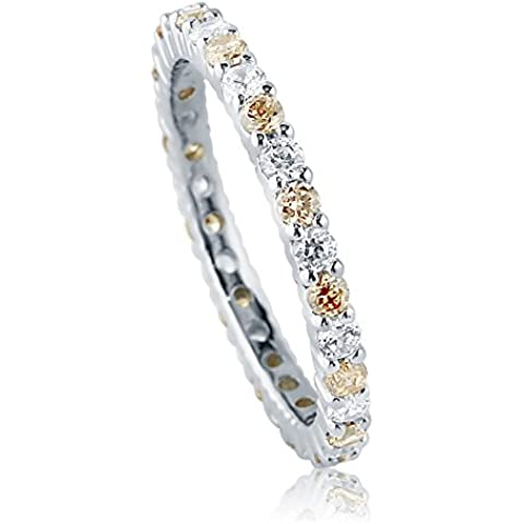 BERRICLE in argento Sterling con zirconi cubici color Champagne CZ-Anello Eternity a fascia da sposa