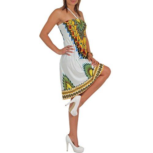 A101 Sommer Bandeau Kleid Holz-Perlen Damen Strandkleid Tuchkleid Tuch Aztec Neu 43 Gelb