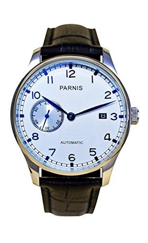 PARNIS 9046 elegante Herren-Automatikuhr 5BAR Wasserdicht 43mm Herren-Uhr Lederarmband SeaGull Markenuhrwerk Kaliber ST25