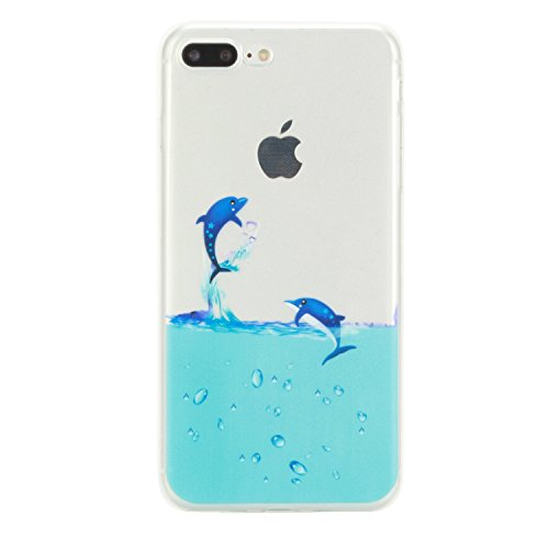 Coque iPhone 7 , Apple 7 Etui TPU , CaseLover Chat Motif Mode Etui Coque TPU Slim pour Apple iPhone 7 (4.7 pouces) Mode Flexible Souple Soft Case Couverture Housse Protection Anti rayures Mince Transp dauphin
