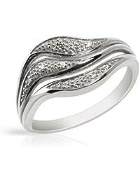 Bijoux pour tous - Anillo de plata de ley con diamante (.044)