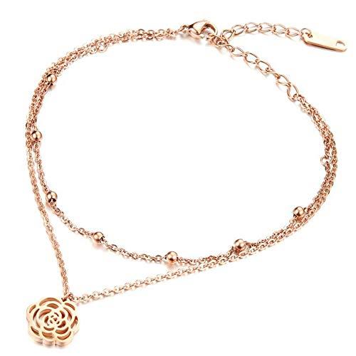 GAOHONGMEI Knöchelkette Armband Hohl Kamelie Doppel Rose Gold Fußkette Titan Stahl Galvanik Ofen Frau Fußkette Hochzeit Schuhe-Rosegold (Karabinerverschluss Ofen Mits)
