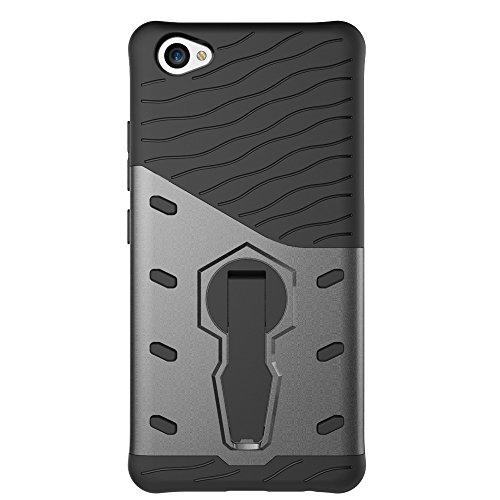 Für VIVO X9 V5 Plus Armor Cover, 2 In 1 Durable TPU + PC Heavy Duty 360 ° Drehbarer Stand Dual Layer Shockproof Case Cover ( Color : Silver ) Black