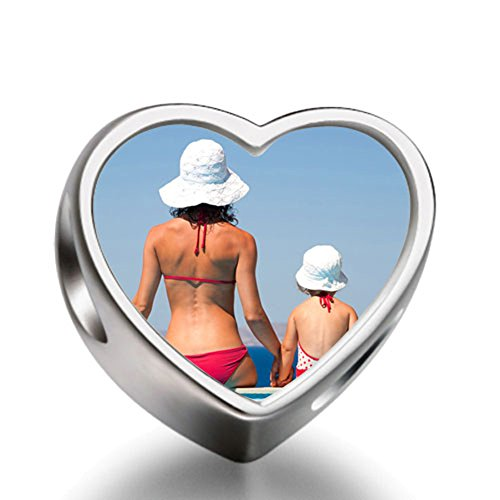 Rarelove Sterling Silver Cute Mother and Child Swimsuit on Beach heart photo charm beads