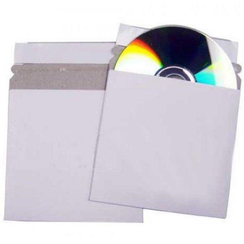 Four Square Media 100 CD Hüllen aus Karton haftklebend Briefumschläge/Versandbox White - , 100 Stück Selbstklebende Square-band