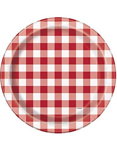 Unique Party 5871523cm Burger Sommer BBQ Pappteller, 8Stück (Rote Weiße Pappteller Und)