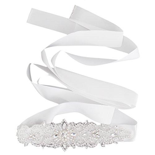 Brautkleid Weiß Bling Rhinestonekristallart Und Schärpegurt Zubehör