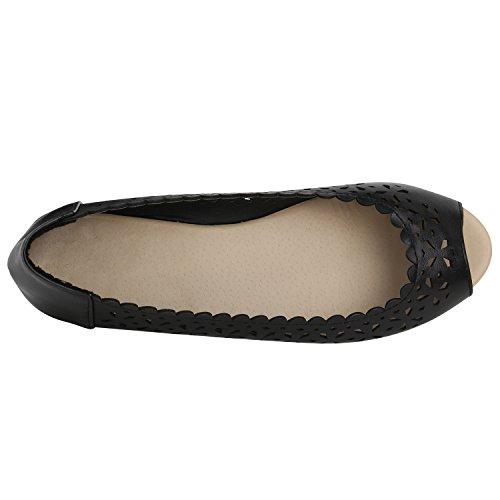 Prints Strass Flache Slipper Klassische Damen Ballerinas Spitze Schwarz Lederoptik Übergrößen Lochungen Flats Schuhe Ovz0vqYw