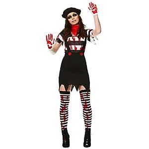 Karnival Costumes- Halloween Zombie Mime Girl Disfraz, Color blanco y negro, large (84185)