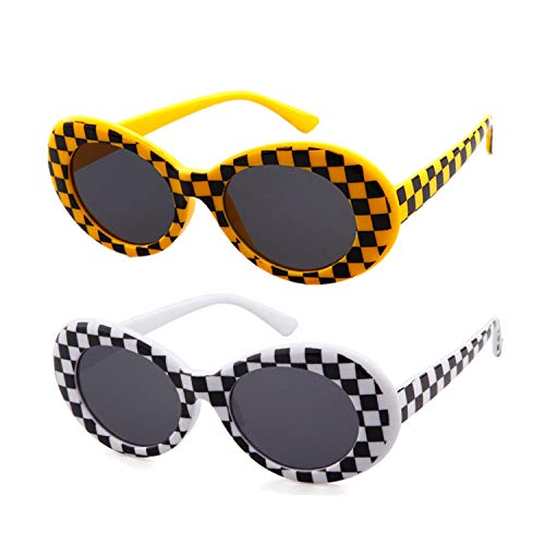 186b832bbee9e ADEWU Clout Goggle Kurt Cobains Oval Sunglasses for Women Men (2pcs - Grid    Yellow