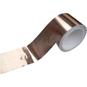 Rotolo Lamina di Rama per Schermatura Chitarra 50mm x 4m con Nastro Adesivo50mm x 4m