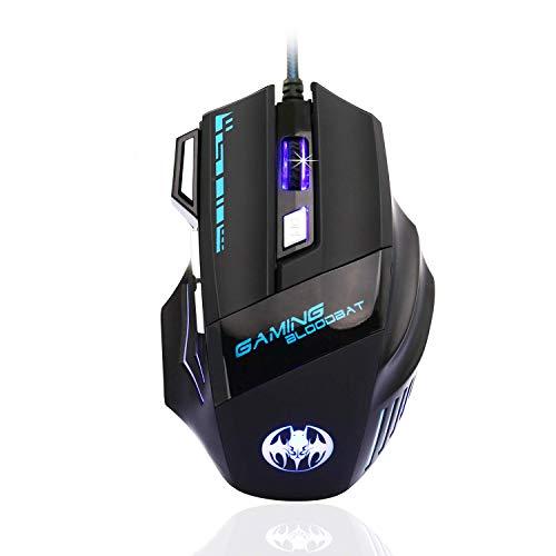 Gaming Maus, QueenDer 6800DPI Gamer Mouse Professionelle Ergonomisch Mit Einstellbare DPI 7 Tasten Wired Hohe Präzision Mäuse Für PC Macbook Computer Laptop Windows 2000/7/8/10/XP/Vista/Me Mac OS