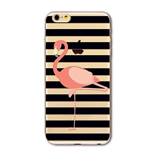 coque iphone 6 silicone transparente avec motif MUTOUREN Housse Etui TPU Silicone cover pour iPhone 6/6S Clear Clair Transparente Gel Slim ultra-mince Hybrid Crystal Clear -Flamingos 15 Flamingos15