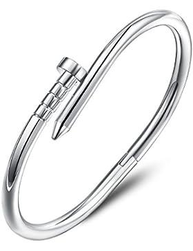 Ategazza Armband Nagel Design 18 Karat Weißgold Überzogen