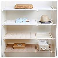VANCORE *UPGRADED* Adjustable Storage Rack Wardrobe Cupboard Shelf Wardrobe Storage Organiser (NO Drilling)