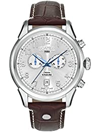 Roamer Men's Quartz Watch with Silver Dial Chronograph Display and Brown Leather Strap 540951 41 16 05