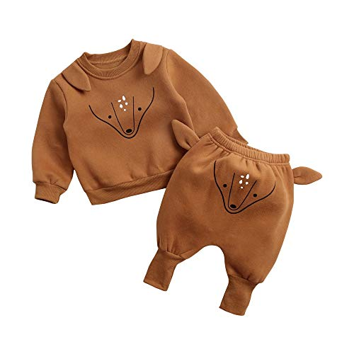 Sanlutoz Hiver Animal Enfant en Bas âge Unisexe Ensemble de vêtements Coton Pulls molletonnés + Sarouel (12-18 mois/80cm, 8163-8165-DEER)