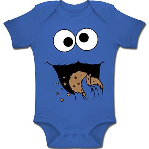 Kostüm Blau Monster Baby - Shirtracer Karneval und Fasching Baby - Keks-Monster - 12-18 Monate - Royalblau - BZ10 - Baby Body Kurzarm Jungen Mädchen