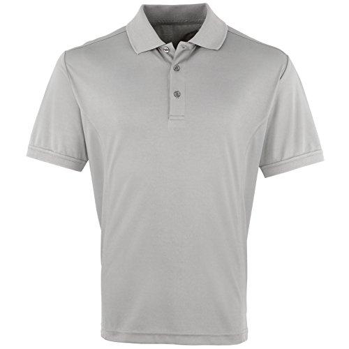 Premier Herren Coolchecker Pique Kurzarm Polo T-Shirt (XL) (Silber)