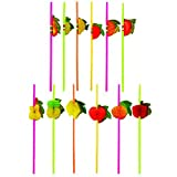 MULTI VALUE 36 x Cocktail 3D Fruit Drinking Straw Assorted Party/BBQ/Hawaiian Theme Straws