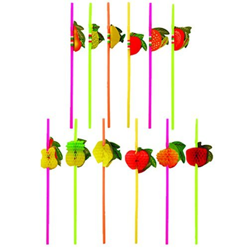 MULTI VALUE 36 x Cocktail 3D Fruit Drinking Straw Assorted Party/BBQ/Hawaiian Theme Straws (Party Kleid Themen)
