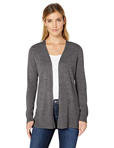 Amazon Essentials Open-Front Cardigan Strickjacke Grau (Charcoal Heather Cha) Medium