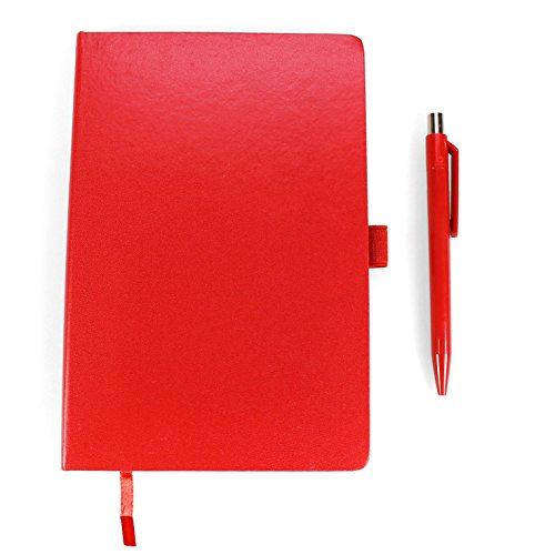 Styletec - Notizbuch Hardcover mit Stiftschlaufe (A5, liniert, 80 g/qm, 160 Seiten) + Kugelschreiber (rot)