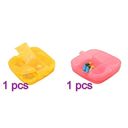 ULTNICE 2x Pillendose 6 Fächer Tablettenbox Medizin Organizer tragbar Medikamenten Vitamin Box für Reisen Zuhaus (Orange und Rosa)