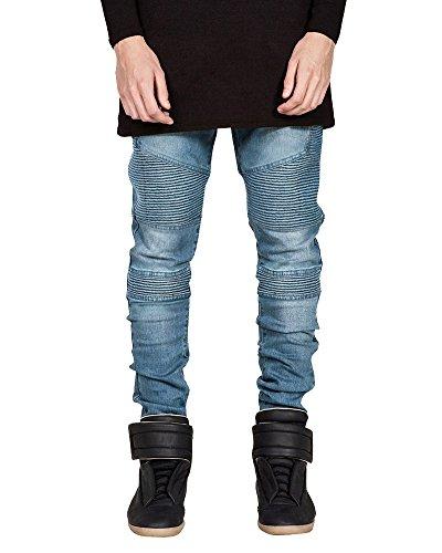 Herren Slim Fit Jeans Biker auch Destroyed Stretch Denim Hose Blau