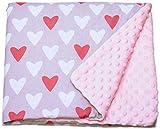 LULANDO Copertina da neonato Coperta per bambino 100% cotone (80x100 cm). Super morbido e soffice, materiale antiallergico, traspirante, Oeko-Tex Standard 100. Colore: Pink - Hearts
