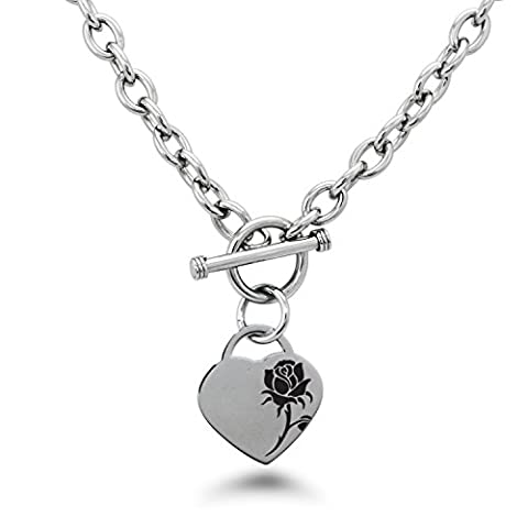 Stainless Steel Enchanting Rose Heart Charm, Necklace Only