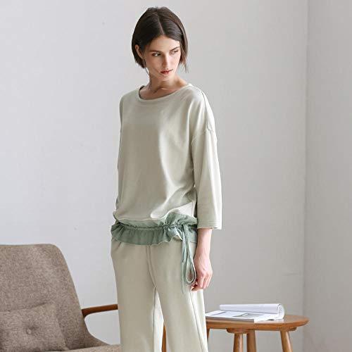 Nachthemden Schlafanzughosen Lässiger Home-Service-Pyjama. Einfach gestrickte Jacquard-Ärmel können draußen getragen werden
