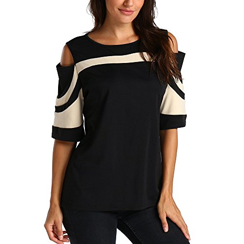 EUZeo Frauen Kalte Schulter Colorblock Kurzarm Schluss Hülsen Sweatshirt Pullover übersteigt Blusen Hemd (S, Beige) - Colorblock Tunika Pullover