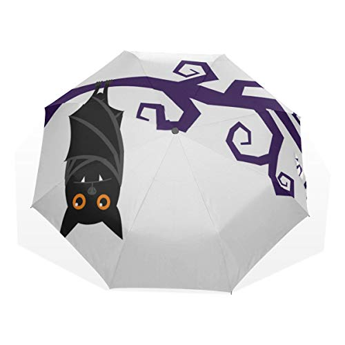 Reiseschirm Night Terror Bat Tier Karton Anti Uv Compact 3-Fach Art Lightweight Faltschirme (Außendruck) Winddicht Regen Sonnenschutzschirme Für Frauen Mädchen Kinder