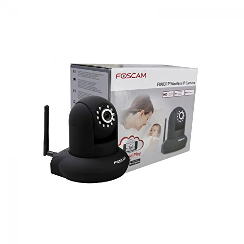 Foscam FI9831P/B Telecamera IP 1.3 MP HD, H.264, Motorizzata, Wireless, P2P, Visore Notturno, 70º, Slot Micro SD, Rilevatore Movimenti, Nero