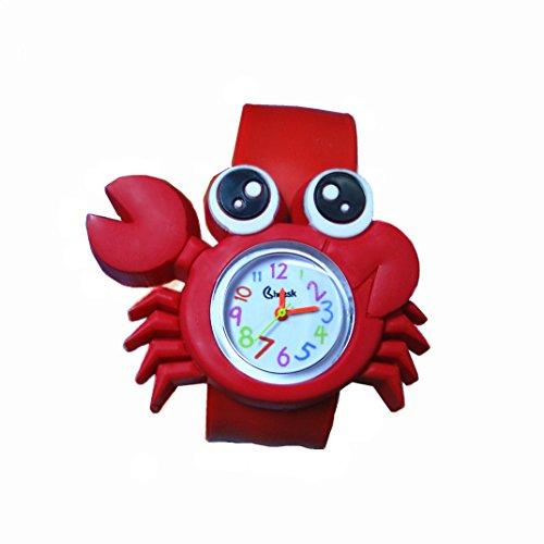 WangsCanis Kinder Schöne Cartoon Silikon Magnetische Magie Uhrenarmband Quarz Sport Beugbar Gummiband Armbanduhr (Krabbe) -