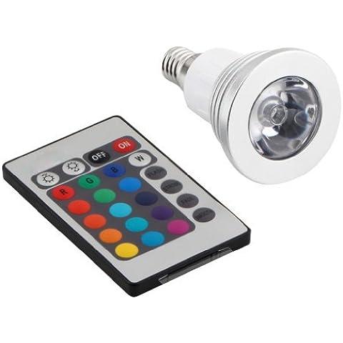 SODIAL(R) 16 Color LED Bombilla E14 Luz 3W Rgb Brillante Ahorro de Energ¨ªa con Control Remoto