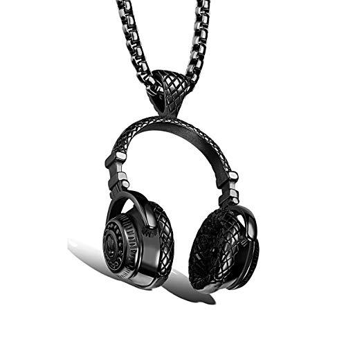 HengYing Edelstahl Hip-Hop Kopfhörer Anhänger Paar Halskette mit Kette - Black S