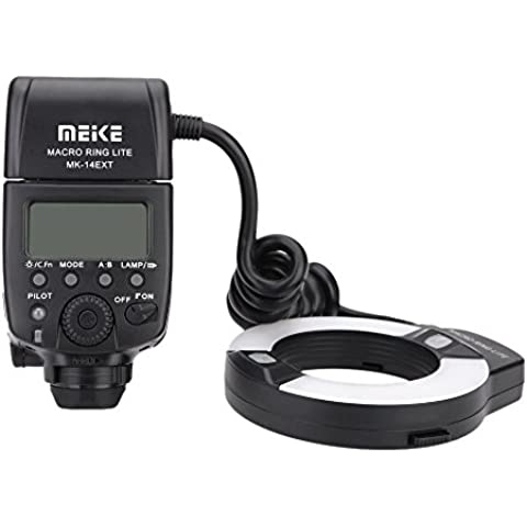 Skyblue MK-14EXT - Flash anular Macro TTL para Nikon i-TTL con luz LED AF auxiliar