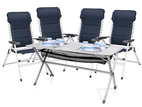 Luxus Camping Set - Alu Campingtisch groß mit Komfort Stühlen leicht und klappbar - einfach zu verstauen