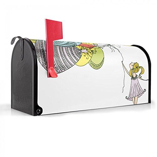 merikanischer Briefkasten 51x22x17cm/Letterbox Stahl schwarz/mit Motiv Grete Mit Ballons, Briefkasten:mit schwarzem Standfuß (Schwarz Brief Ballons)
