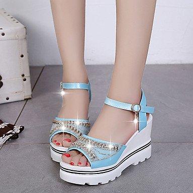 LvYuan Da donna Sandali PU (Poliuretano) Estate Footing Con diamantini Piatto Bianco Rosa Azzurro chiaro 7,5 - 9,5 cm White