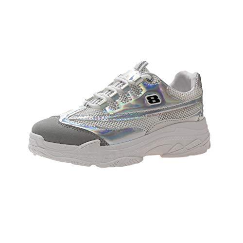 CUTUDE Schuhe Damen Sneaker Mesh Casual Sportschuhe Bequem Turnschuhe Atmungsaktiv Sportschuhe Sneakers Männer Wanderschuhe Laufschuhe (Silver, 38 EU) - Schwarzer Bär Nachthemd